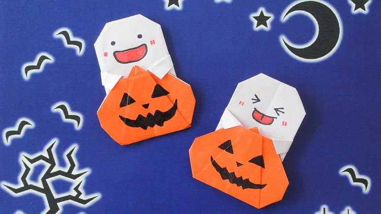 【ハロウィン折り紙】1枚でカボチャとおばけ【Halloween Origami】Pumpkin and Ghost (using only 1 paper)