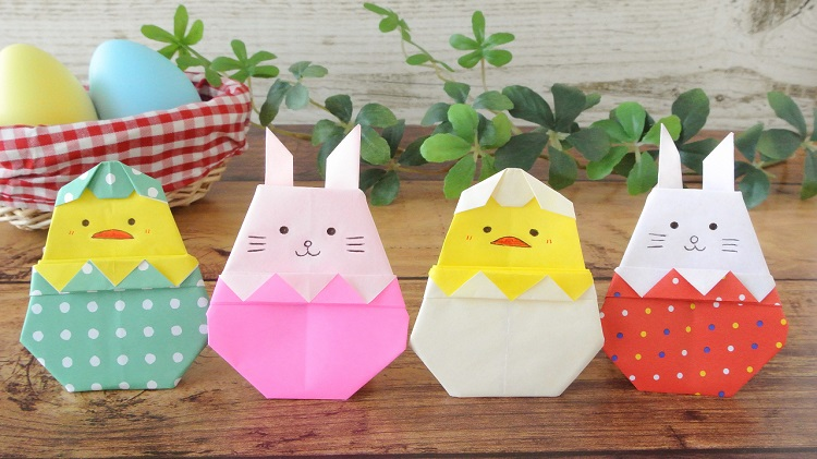 折り紙イースターエッグの作り方(うさぎ、ひよこ)Origami Easter Egg with Rabbit and Chick