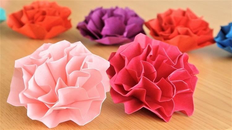 折り紙 簡単なカーネーションの花の作り方 Origami easy Carnation