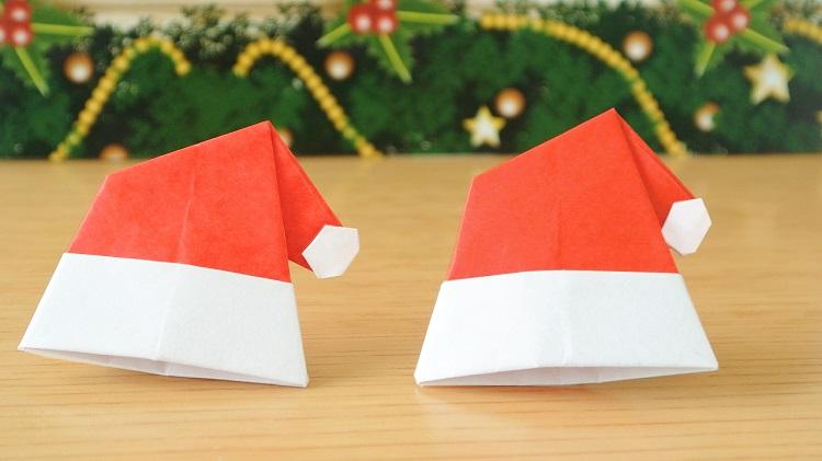折り紙 サンタ帽子の作り方 [Origami]Santa hat with pompom