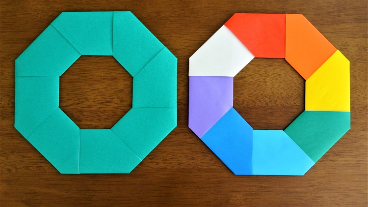 折り紙簡単なリースの作り方 Origami easy wreath