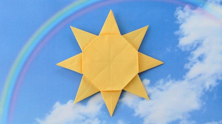 折り紙 1枚で太陽の作り方