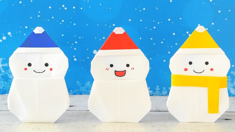 折り紙 帽子付き雪だるまの作り方 [Origami]Snowman with Santa hat(using only 1 paper)