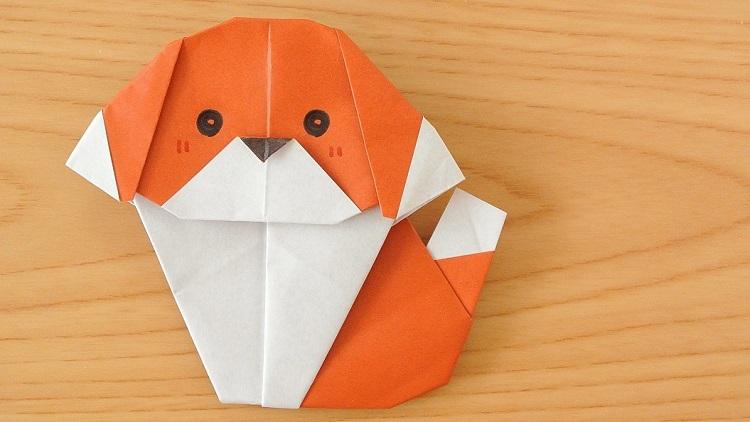 折り紙1枚で犬の作り方 Origami dog