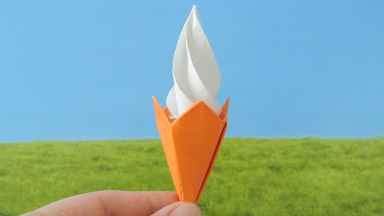【折り紙】立体ミニソフトクリームの作り方 [Origami] Mini 3D soft serve ice cream
