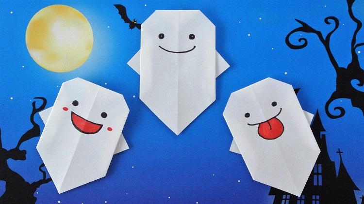 折り紙 簡単なおばけの作り方 Origami Ghost
