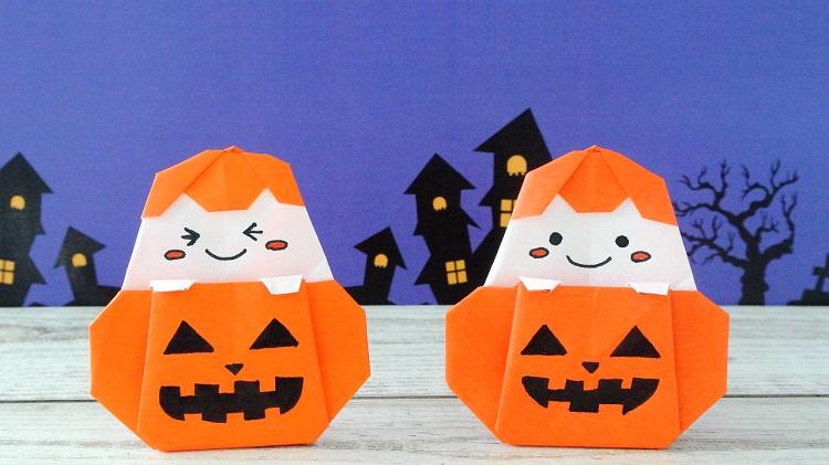 【折り紙】1枚でかぼちゃおばけ[origami]Pumpkin Ghost