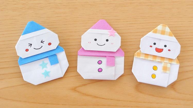 【折り紙】マフラーと帽子のついた雪だるま2