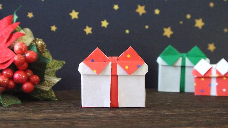 【折り紙】プレゼントの作り方(1枚でリボン付き・平面)[Origami]Present with ribbon bow
