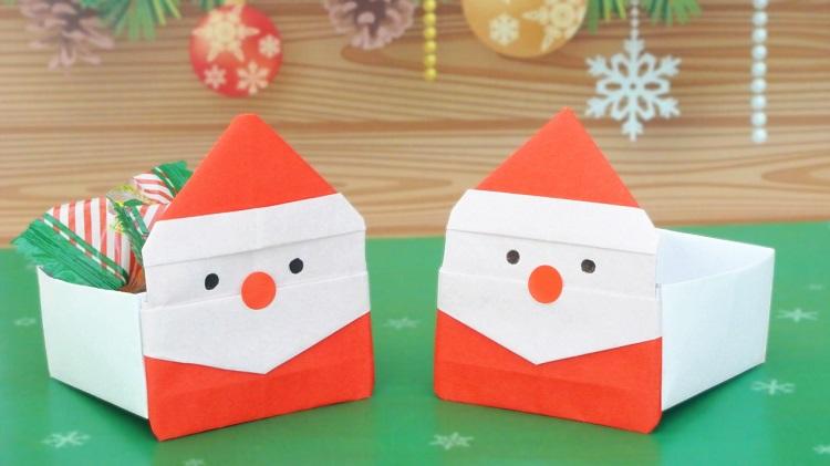 【折り紙】サンタクロースの箱の作り方