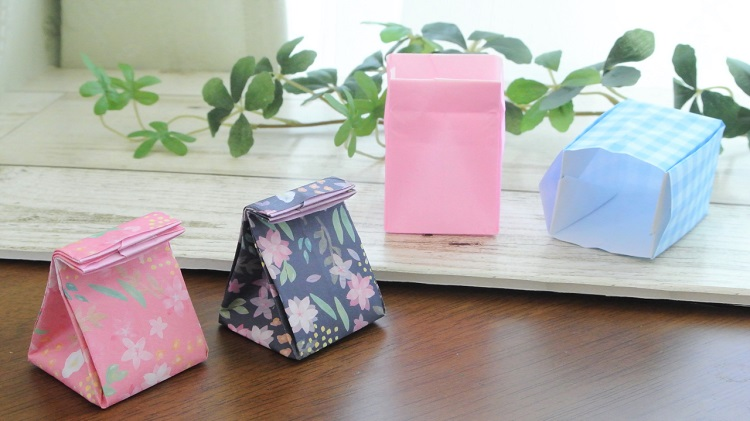 【折り紙】紙袋にもなる箱の作り方