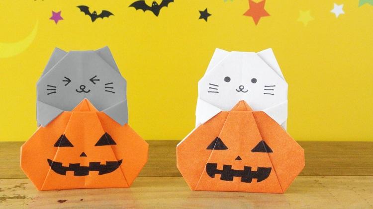【ハロウィン折り紙】1枚でかぼちゃ猫の作り方