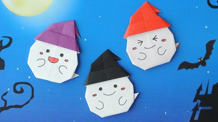 【ハロウィン折り紙】簡単な帽子付きおばけの作り方2