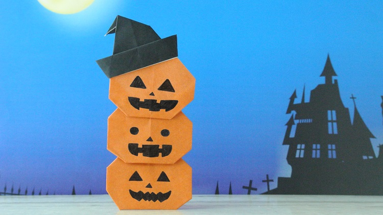 ハロウィン折り紙】3段かぼちゃの作り方