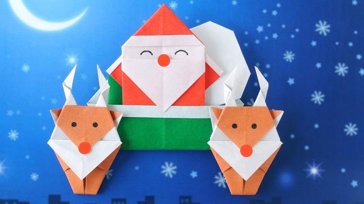 【クリスマス折り紙】サンタクロースとトナカイさんの作り方
