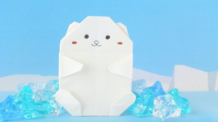 【折り紙】1枚でしろくまの作り方
