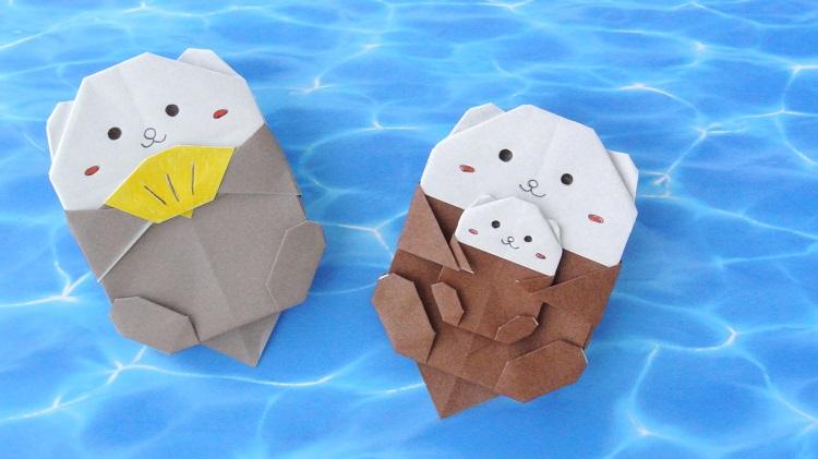 【折り紙】ラッコの作り方(貝付きラッコ・ラッコの親子))