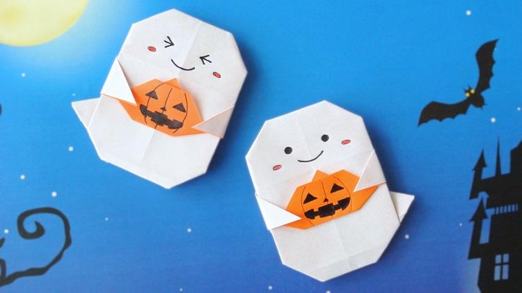 【ハロウィン折り紙】1枚でかぼちゃを持ったおばけの作り方